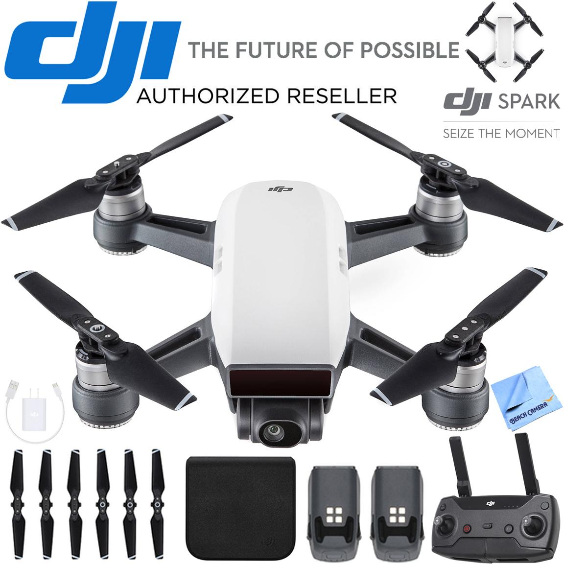 DJI CP.PT.000731 SPARK Intelligent Portable Drone Alpine White Spare Battery Bundle