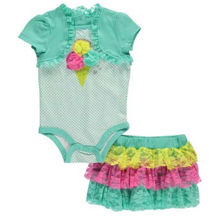 small wonders baby girls lace scoops 2 piece outfit walmart com