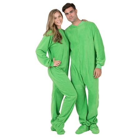 74fe1d56b44b Footed Pajamas - Footed Pajamas - Emerald Green Adult Fleece Onesie -  Walmart.com