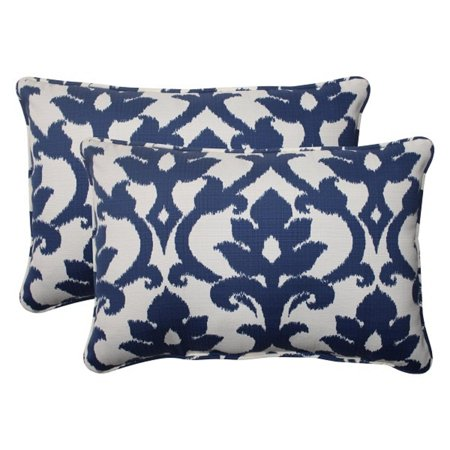 Victorian Outdoor Pillows : Set of 2 Navy Floral Victorian Outdoor Corded Rectangular Throw Pillows 24.5