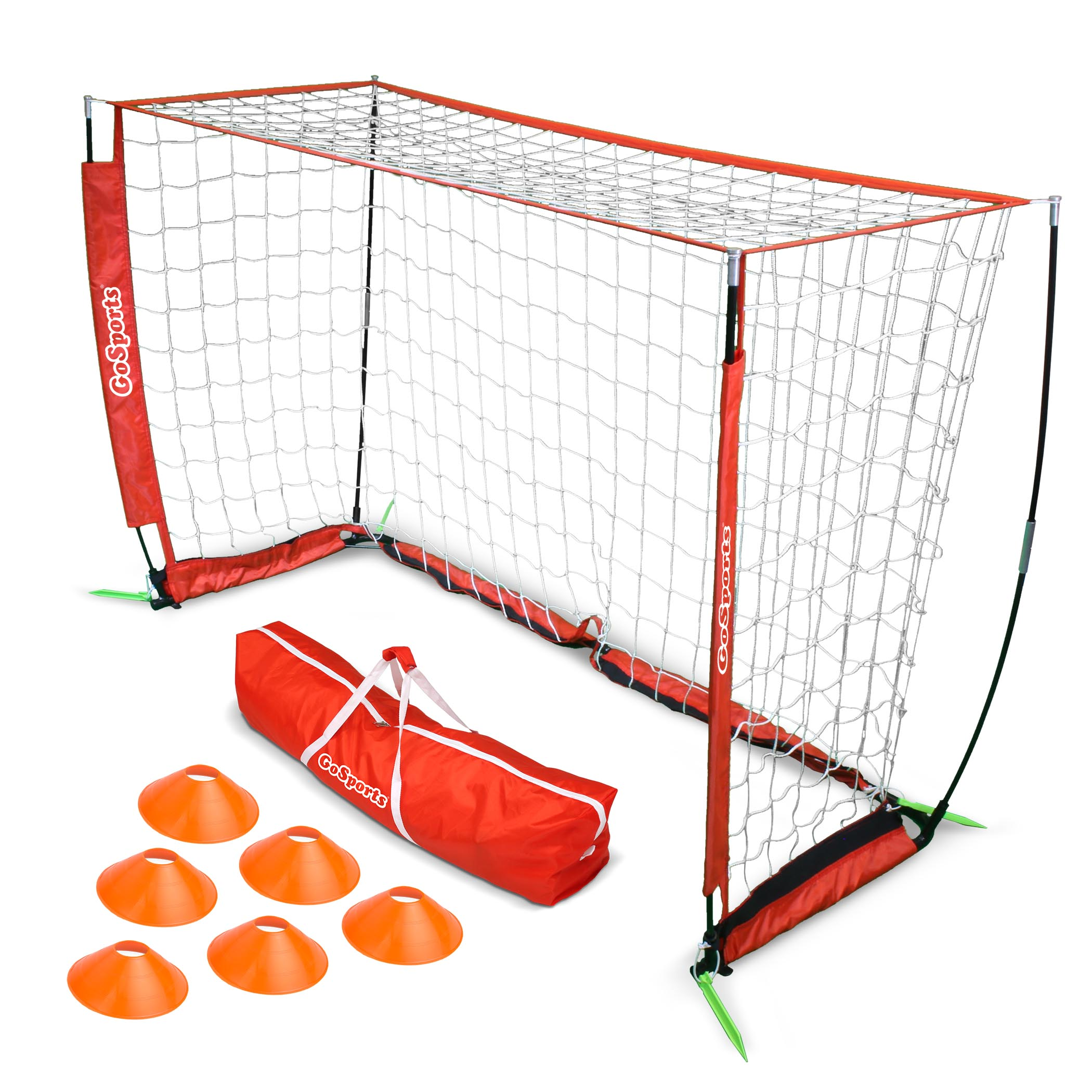 GoSports 6' Foldable ELITE Soccer Goal - Includes 1 6' Goal, 6 Cones & Portable Carrying Case
