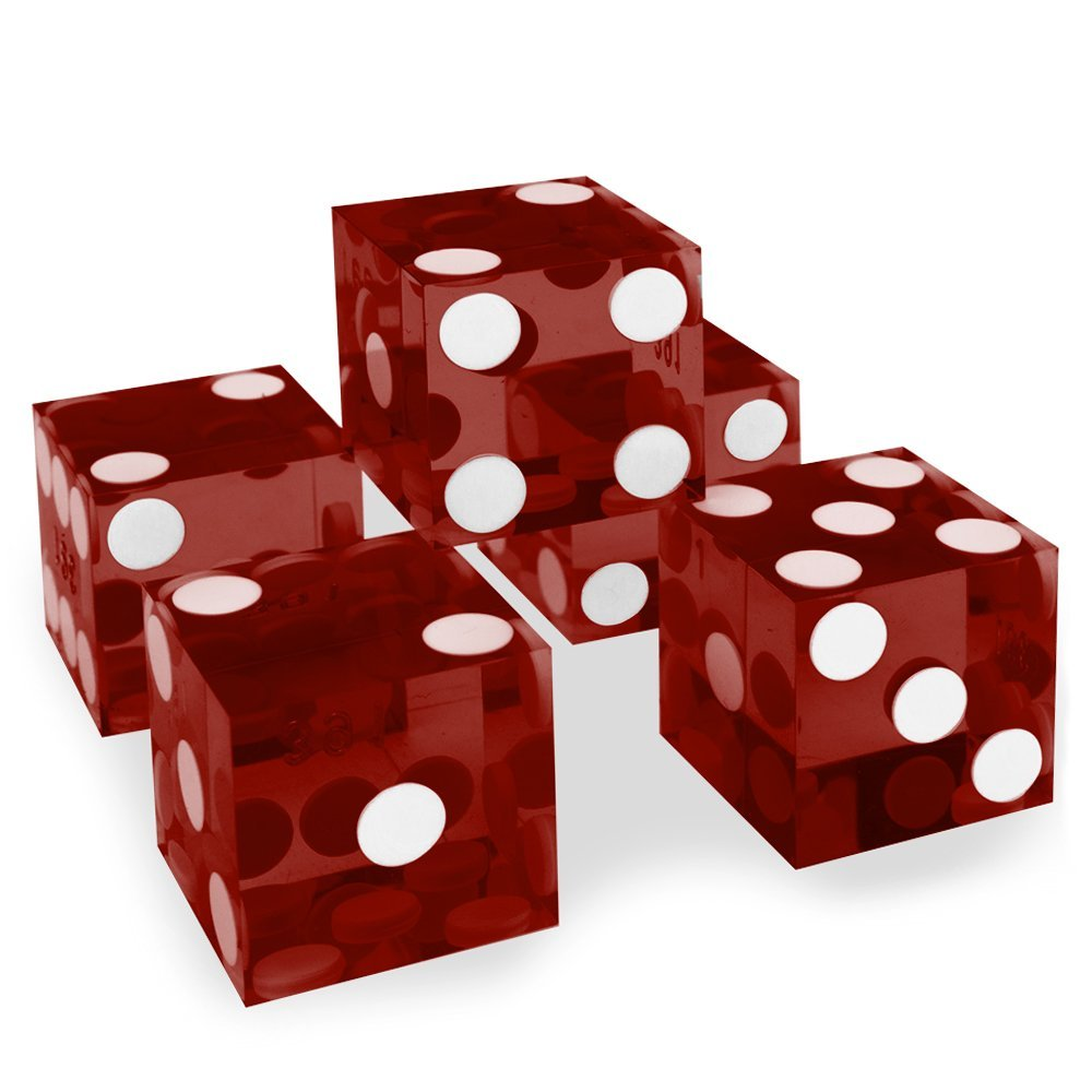 Brybelly Grade AAA 19mm Red Casino Dice with Razor Edges and Matching Serial Numbers, 5-pack