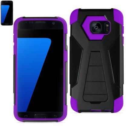 Samsung Galaxy S7 Hybrid Heavy Duty Case With Kickstand (Silicon Case+Protector Cover)-Purple Black