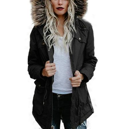 - Ladies Women Jacket Fur Hooded Winter Warm Parker Parka Pocket Long Coat Outwear