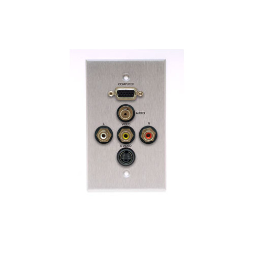 Comprehensive Single Gang Wall Plate in Kyde x Ivory (HD15, Stereo Mini, S-Video, 3RCA- Passthru)