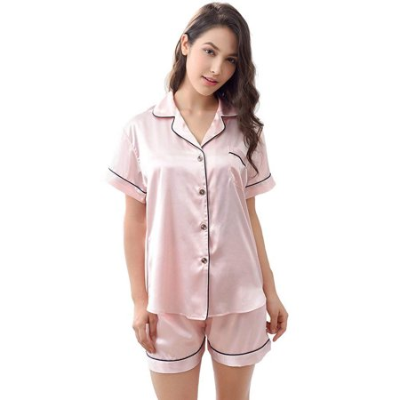 2 Piece Satin Pajama Set (Women's Satin Pajamas Sleepwear Set Short and Long Button-Down PJ)