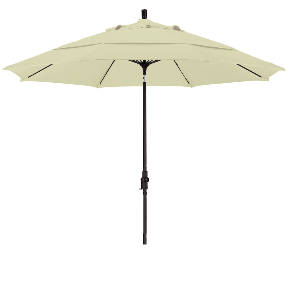Eclipse Collection 11 Fiberglass Market Umbrella Collar Tilt DV Matted Black/Olefin/White