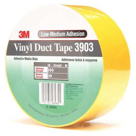 3M 3903 Duct Tape,2 x 50 yd,6.3 mil,Yellow,Vinyl