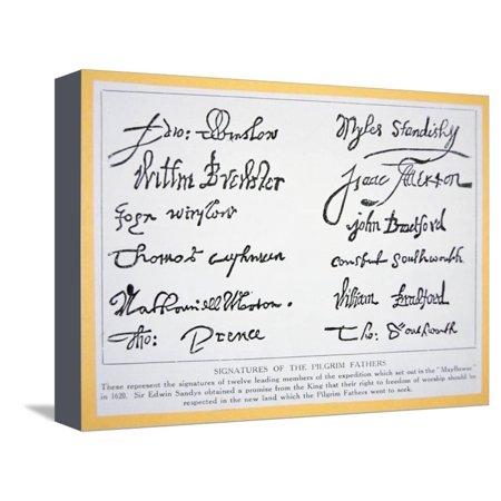 cbcf4776df Signatures of the Pilgrim Fathers on the  Mayflower Compact  of 1620  (Litho) Stretched Canvas Print Wall Art By American - Walmart.com