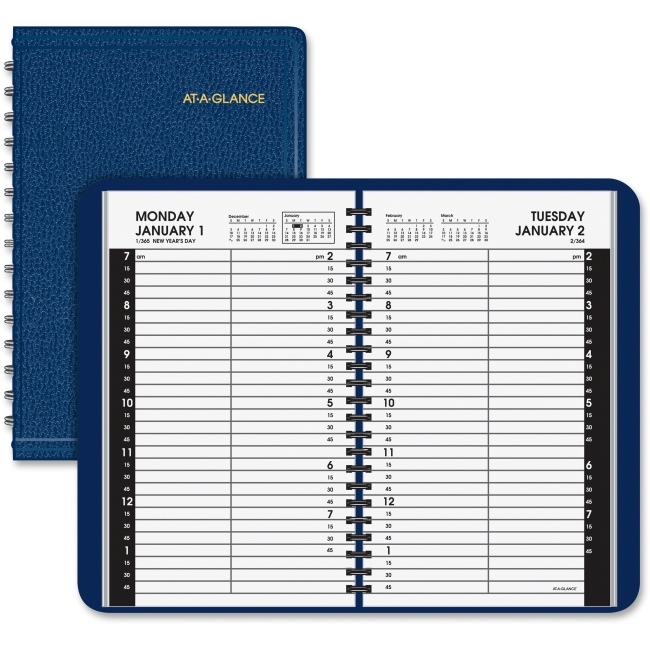 "At-A-Glance Daily Appointment Book - Julian - Daily - 1 Year - January 2018 till December 2018 - 7:00 AM to 7:45 PM, 9:00 AM to 4:45 PM - 1 Day Single Page Layout - 4.88"" x 8"" - Wire Bound - Simulated"