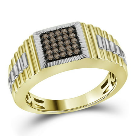 Courvoisier Vs Cognac - 10kt Yellow Gold Mens Round Cognac-brown Colored Diamond Square Cluster Ribbed Ring (.25 cttw.)