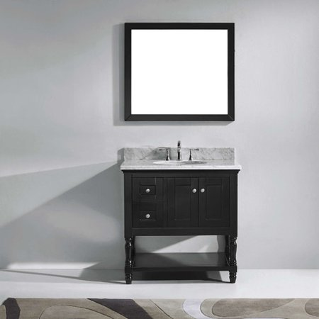 Virtu Usa Julianna 37 Single Bathroom Vanity Set With White Marble Top And Mirror