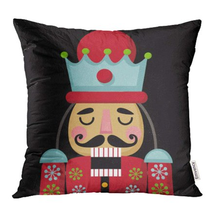 USART Colorful Cracker Christmas Nutcracker Cartoon Wooden Soldier Toy from The Ballet Nut Pillow Case Pillow Cover 18x18 inch Throw Pillow Covers