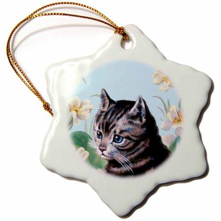 3dRose Cute grey kitten - vintage art tabby cat with sweet blue eyes in garden - white flowers - gray kitty - Snowflake Ornament, 3-inch ()