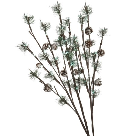 Set of 3 LED Lighted Frosted Artificial Pine Cone Christmas Twig Sprays 30