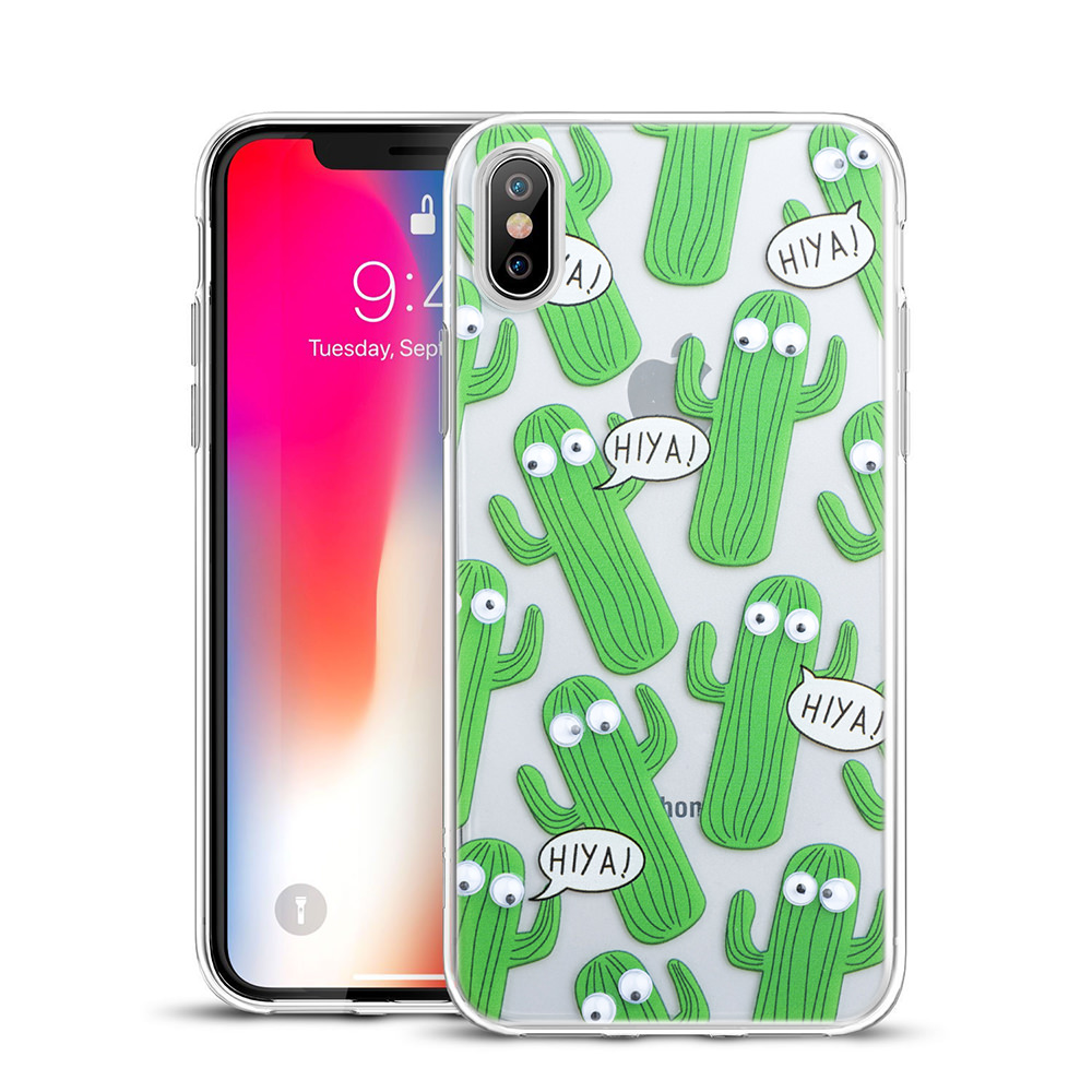 MUNDAZE Green Cactus Silly Eyes Skin Flexible TPU Case For Apple iPhone X Phone