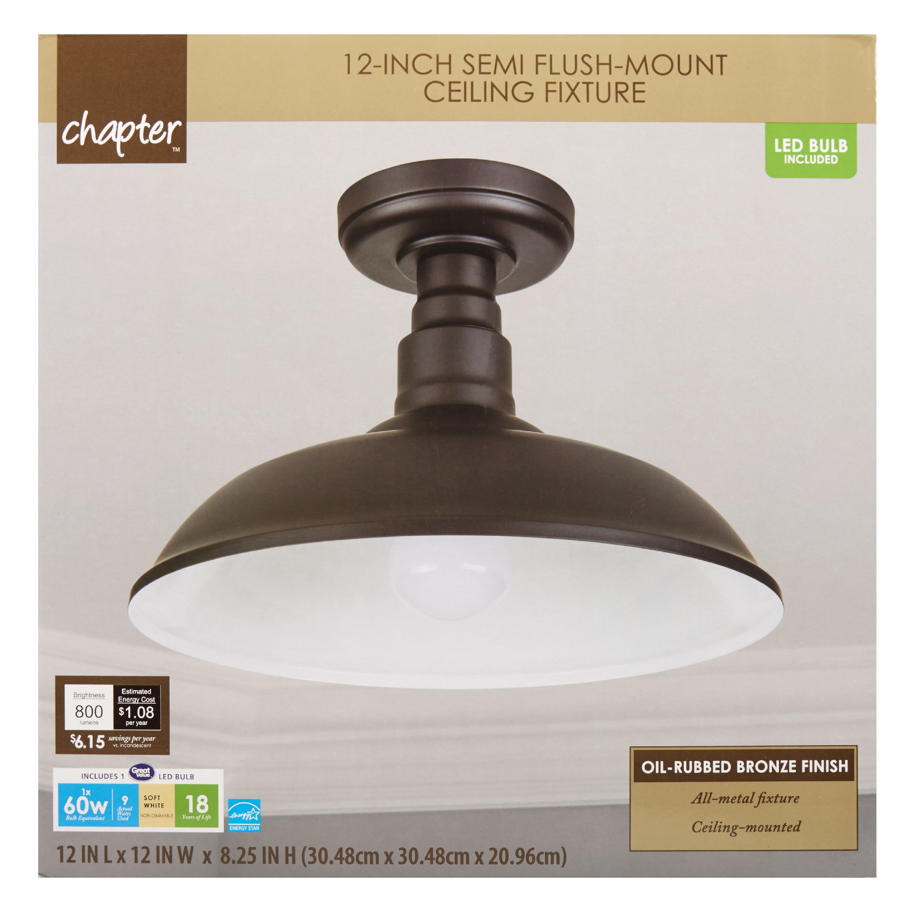 "Chapter 12"" LED Decorative Indoor Semi Flush-Mount Ceiling Fixture, Oil-Rubbed Bronze"