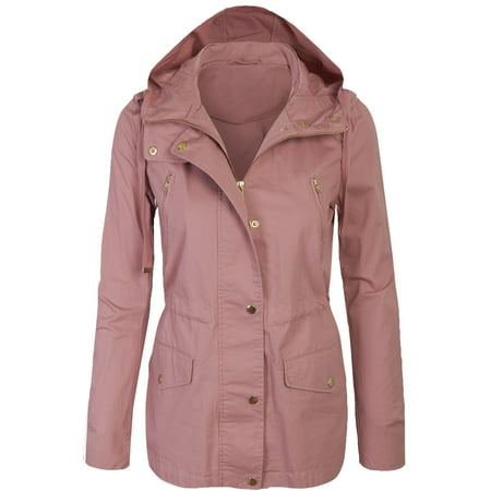 Womens Zip Up Military Anorak Safari Jacket with Hoodie ()