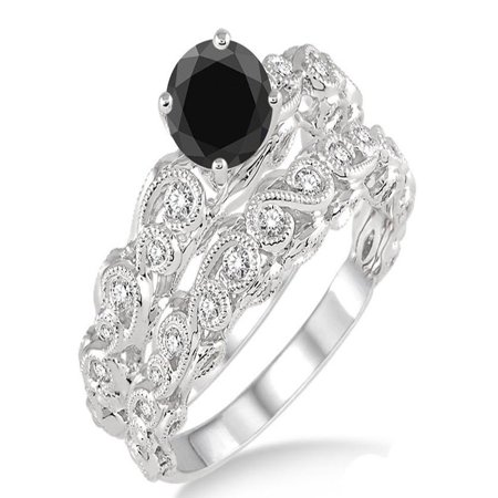 73c02b6beeea7c JeenJewels - 1.25 Carat Black Diamond Infinity Antique Bridal set on 10k  White Gold - Walmart.com