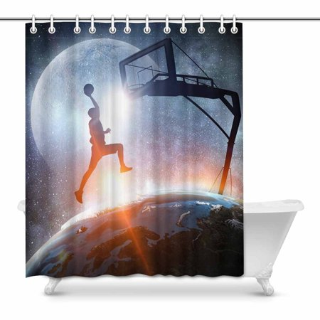 YUSDECOR Funny Sports Decor A Man Playing Basketball in Space Waterproof Shower Curtain Decor Fabric Bathroom Set 60x72 inch - image 1 de 1