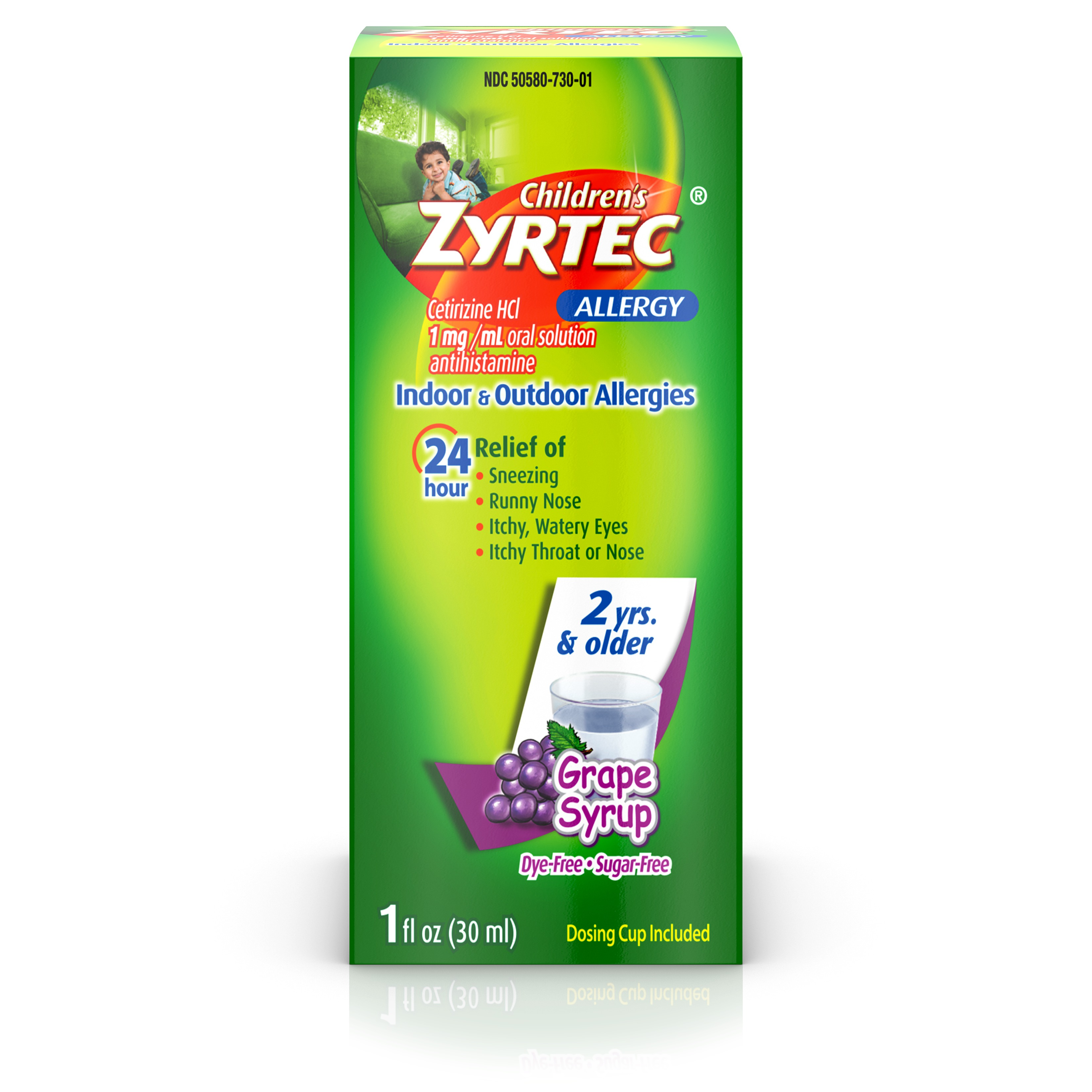 Zyrtec 24 Hr Children's Allergy Relief Syrup, Grape Flavor, 1 fl. oz