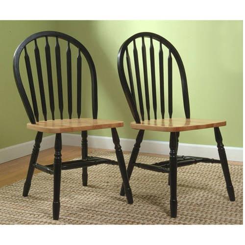 Arrowback Chair, Black/Natural, Set of 2