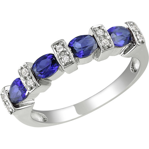 1 Carat T.G.W. Created Sapphire and Diamond-Accent Sterling Silver Fashion Ring
