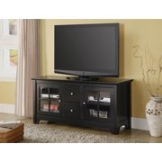 Wood TV Console w 2 Drawers in Matte Black Finish