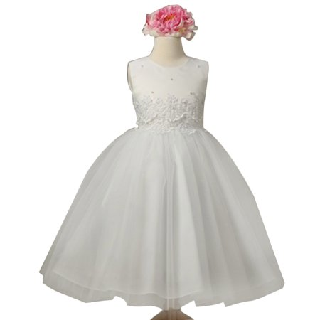 Efavormart Pearl and Lace Embellished Tulle Dress Birthday Girl Dress Junior Flower Girl Wedding Party Gown Girls Dress For Wedding - Dress For Girl