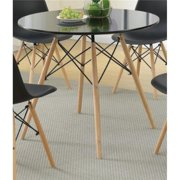 Benzara BM171336 30 x 36 x 36 in. Round Dining Table with Metal Legs & Glass Top - Brown & Black