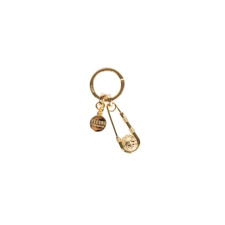 Versus Versace Gold Lion Head Safety Pin Pendant Key Chain - Golf Key Chains