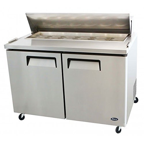 Atosa USA MSF8302 Stainless Steel Sandwich/Salad Prep Table 48-Inch Two Door Refrigerator