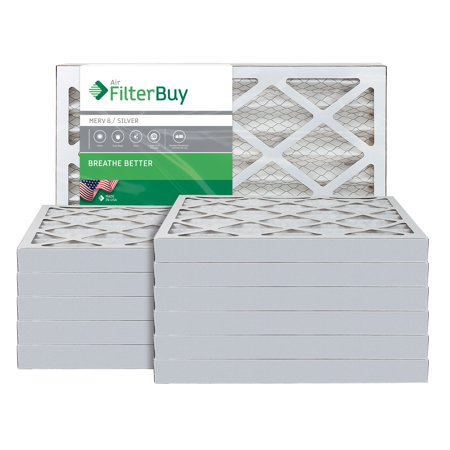 AFB Silver MERV 8 14x30x2 Pleated AC Furnace Air Filter Pack of 12 Fil