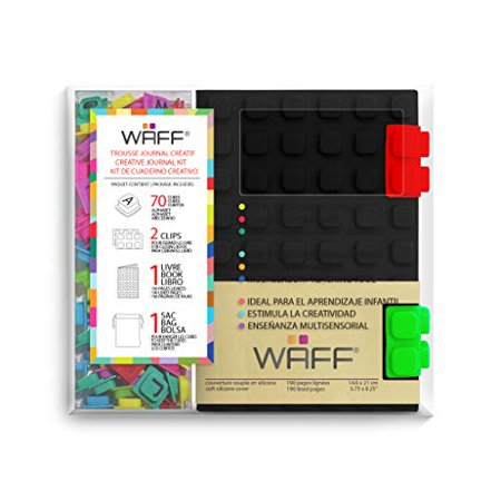 "WAFF, Soft Silicone Cube Tiles And Notebook / Journal Combo, Medium, 5.75"" x 4"" - Black - image 3 of 4"