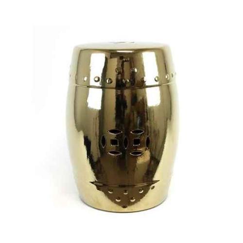 Benzara Attractive Derbys Ceramic Garden Stool, Golden Finish