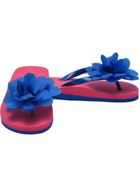 0317ef6e798 Product Image L`Amour Little Girls Royal Blue Organza Flower Flip Flops