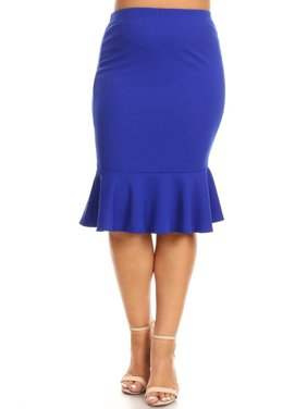 588a2b973dfe Product Image Plus Size Women's Trendy Style Knee Length Ruffle Hem Solid  Skirt