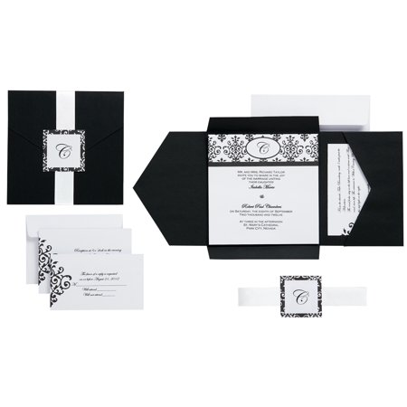 Invitation Kit Makes 25 Black White Scroll Monogram