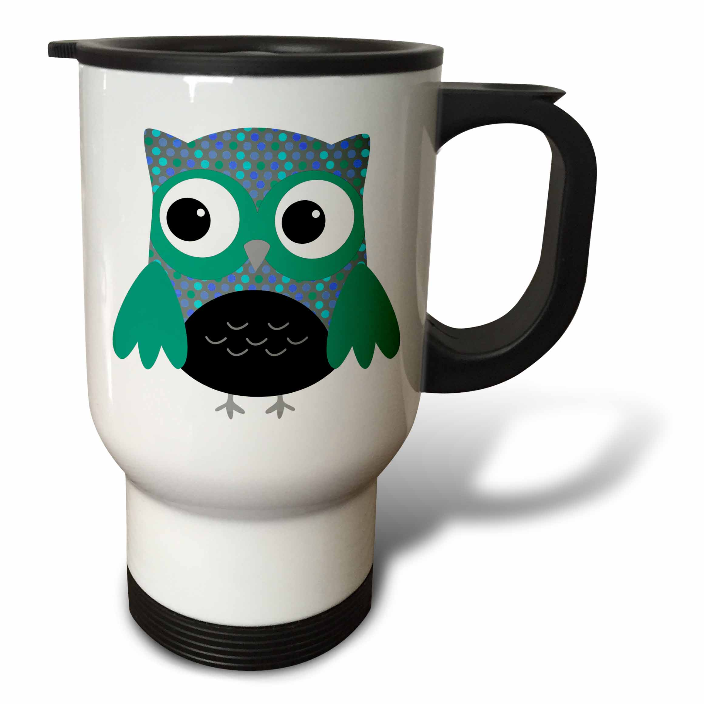 3dRose Cute Blue and Green Polka Dots Owl, Travel Mug, 14oz, Stainless Steel