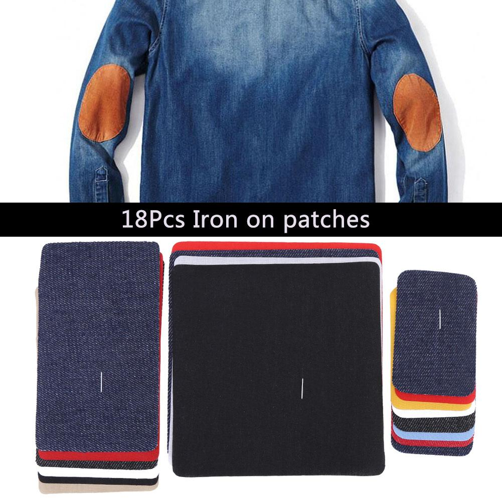 18Pcs Assorted Iron on Jean Mending Patches Repair Kit for Cloth Jeans Hats, Sewing cloth,Iron on patches