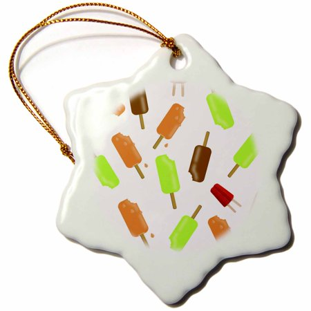 3dRose Print of Lime Orange And Chocolate Popsicle Repeat - Snowflake Ornament, 3-inch](Lime Popsicle)