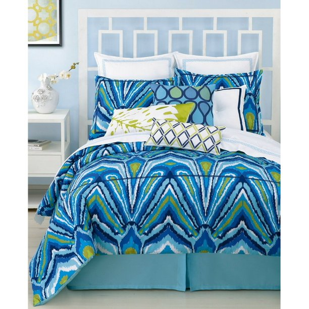 Trina Turk Residential Peacock Cotton Sateen Comforter Set Twin Xl Blue Walmart Com