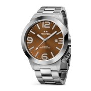 Mens XXL Stainless Steel Case Canteen Bracelet Brown Dial Silver Watch - CB22