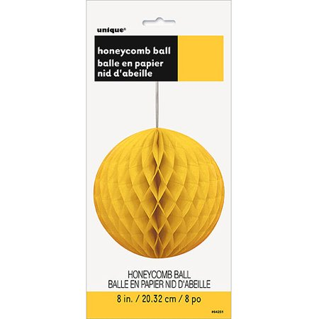 Tissue Paper Honeycomb Ball, 8 in, Yellow, 1ct