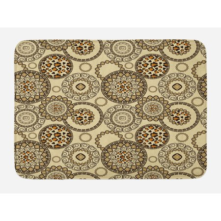 Primitive Bath Mat, African Safari Patterns with Cheetah Skin Print Animal Theme in Neutral Colors, Non-Slip Plush Mat Bathroom Kitchen Laundry Room Decor, 29.5 X 17.5 Inches, Brown Beige, Ambesonne