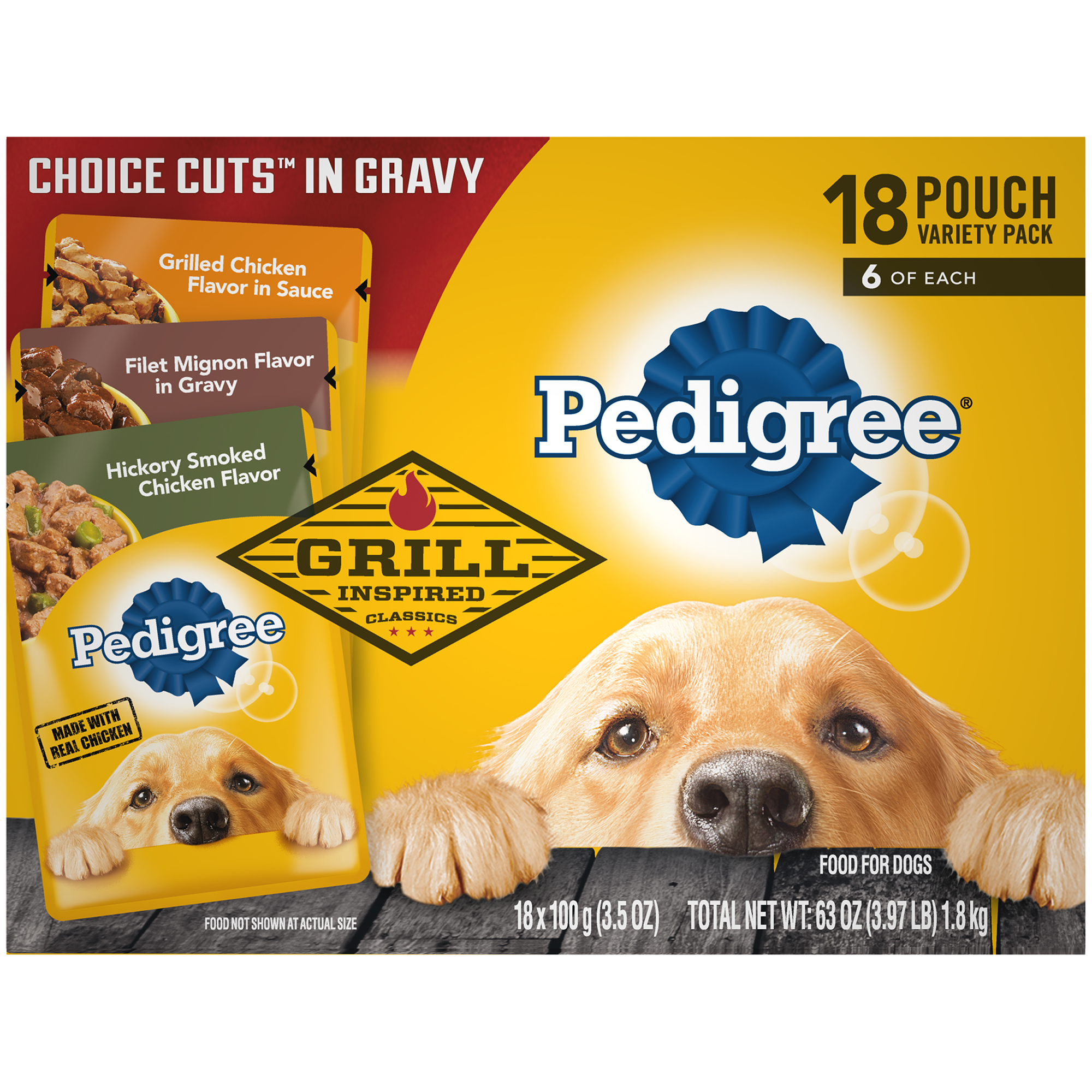 Pedigree Choice Cuts in Gravy Grill Inspired Classics Adult Wet Dog Food Variety Pack, Hickory Smoked Chicken Flavor, Grilled Chicken Flavor, and Filet Mignon Flavor, (18) 3.5 oz. Pouches