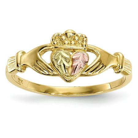 Mia Diamonds 10k Yellow Gold Tri-Color Black Hills Gold Claddagh Ring