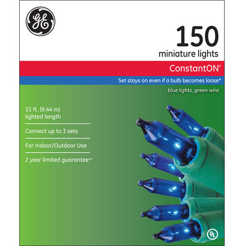 GE ConstantON Blue Christmas Lights, 150 Count