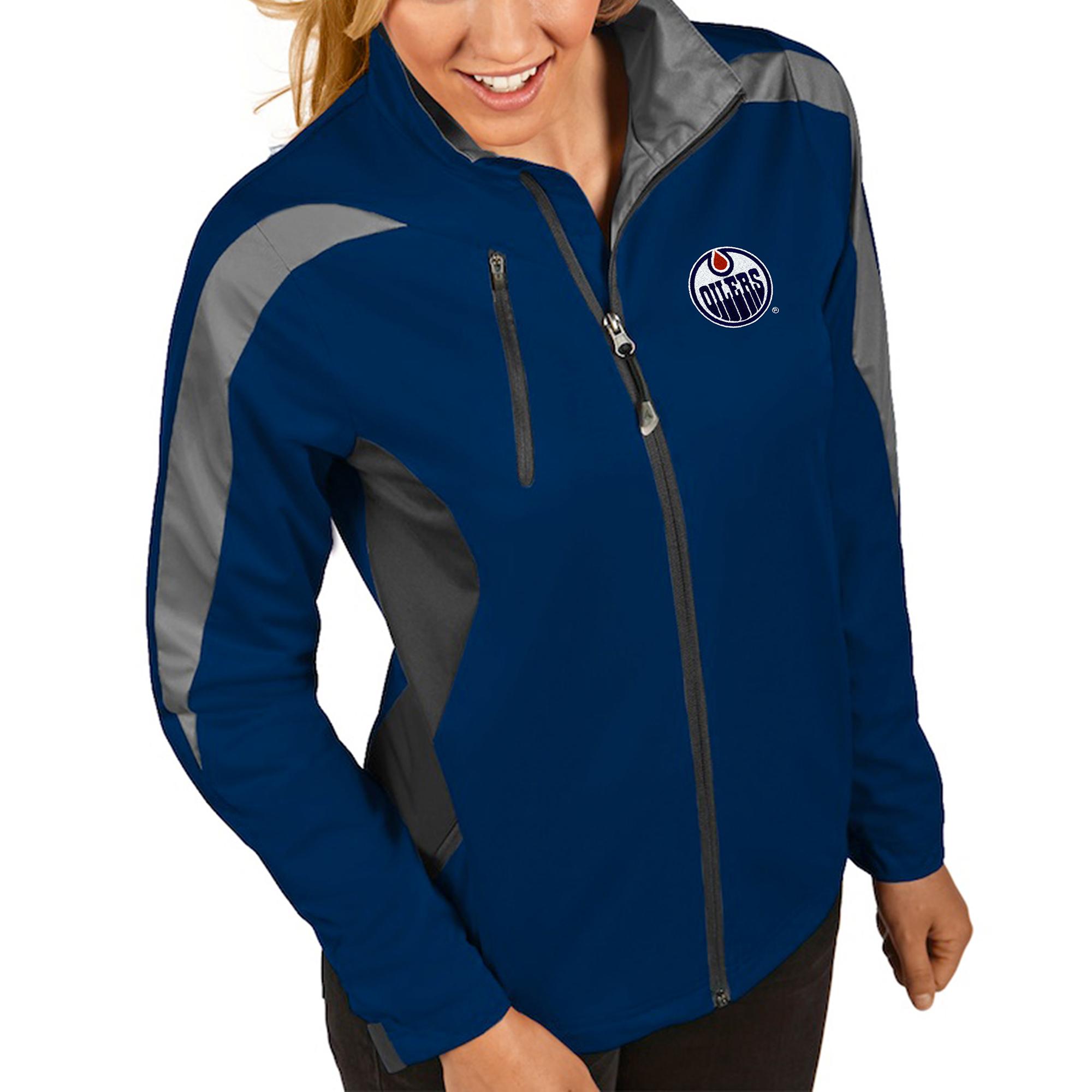 Edmonton Oilers Antigua Women's Discover Performance Full-Zip Jacket - Navy