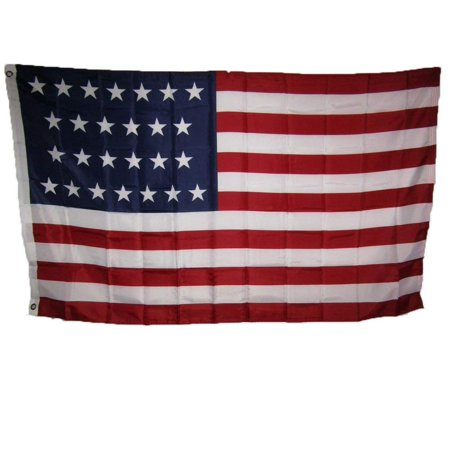Nylon Eyelet - 3x5 USA American 26 Star Linear 1837 1845 Historical Flag 3'x5' Super Polyester Nylon House Banner Grommets Double Stitched Metal Eyelets For Hoisting Fade.., By AES,USA